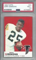 1969 Topps football card #24 Jerry Simmons, Atlanta Falcons graded PSA 7.5