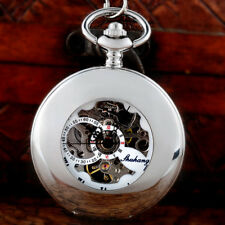 Mechanical Pocket Watches Windup Chain Antique Silver Glossy Steampunk Skeleton