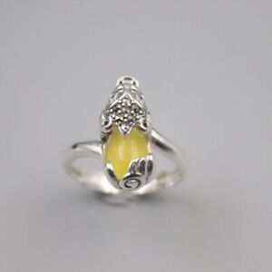 Solid 925 Sterling Silver 18mm Yellow Chalcedony Pixiu Woman's Ring Size 6-12