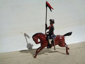 Britains, 46 British 10th Bengal Lancers cavalry on Horse lead vintage, TD