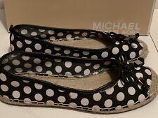 Michael Kors Meg Espadrille Polka Dot Canvas Flats Black White New In Box Size 6