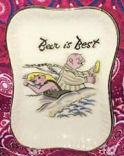 Estate Collectable ~ Gold Rim Old Funny Beer Pin Butter Dish ~ Vintage Japan
