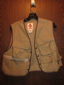 Vintage Columbia U.S.A. Portland OR Men's Tan Cotton Fishing Vest Sz Small