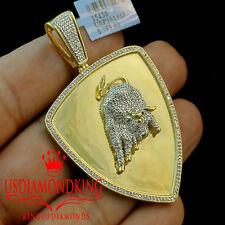 Real Diamond 10K Yellow Gold Finish Medallion Lamborghini Bull Pendant Charm