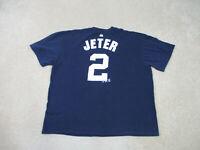 Majestic New York Yankees Shirt Adult 2XL XXL Blue Derek Jeter Baseball Mens B07