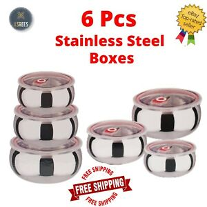 6pcs Stainless Steel Storage Boxes With Lids