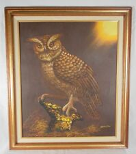 Vintage Owl Oil Painting On Canvas Signed Shilto Oil on Canvas