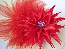 Red Satin flower,ostrich feathers,women hair clip,fascinator,weddings,Vintage