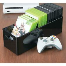 Storage Container Plastic DVD CD  and Video Games Holder Box with Handles Black