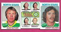 1975-76 TOPPS NORTH STARS BIALOWAS + TEAM LDR + GLEN SATHER  (INV# A8395)