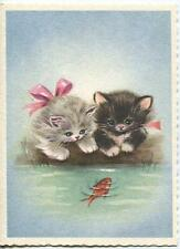 VINTAGE FLUFFY GIRL GRAY TUXEDO BLACK WHITE KITTENS CAT GOLDFISH POND CARD PRINT