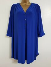 NEW Ann Harvey Plus Size 16-28 Cobalt Blue Button Front Tunic Blouse Top