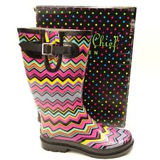 b6fc13d8d73c New Western Chief Womens Chevron Stripe Pull-On Rubber Rain Boots Size 7