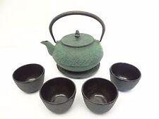 Vintage Set of Used Green Cast Iron Metal Tea Service Set Cups Pot Strainer.