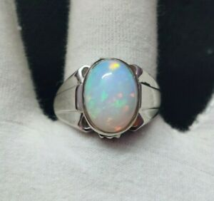 Opal Men Ring Natural Ethiopian Opal Men Ring 12x16 mm Oval 9 Ct Opal Men Ring