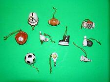 LENOX DREAMING OF SPORTS 10 miniature Tree Ornaments set NEW in BOX football