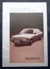 VAUXHALL ROYALE SALOON & COUPE Car Sales Brochure 1980 #V2412