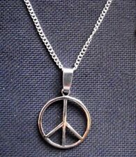 Peace Sign Symbol Pendant 24mm Silver Tone Metal Necklace 24 inch chain