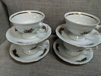 4 Sets Royal Kent Christmas Holly and Berries Teacups & Saucers - Poland
