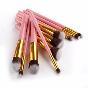 10Pcs Make Up Brushes Face Powder Blusher Eyeshadow Pink & Gold Makeup Brush