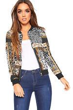 Womens Baroque Leopard Scarf Print Long Sleeve Zip Bomber Jacket Ladies Coat Top