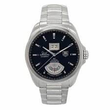 TAG HEUER GRAND CARRERA WAV5111 MENS AUTOMATIC WATCH DATE GMT BLACK DIAL SS 42MM