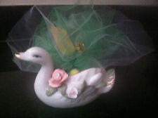 Made Italy Vintag Duck Porcelain Swan Planter Goose Figurine Trinket Bird Holder