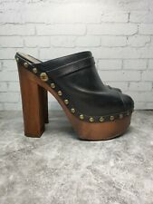 Chanel Black Leather Wooden Platform Clog Size 41