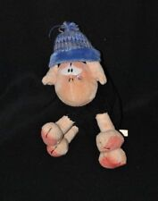 Peluche doudou mouton Wollywell DIDDL DEPESCHE noir beige bonnet bleu 18 cm TTBE