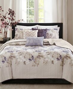 Madison Park Luna 6-Pc. Floral Reversible Coverlet Set - FULL / QUEEN - Taupe