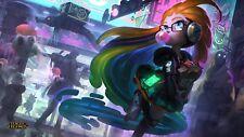 Poster 42x24 cm League Of Legends Zoe Skin Ciberpop Splash Art LOL Videojuego 01
