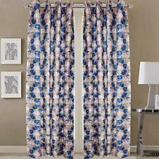 New 2 Pieces Fancy Design Blue Floral Leaf Polyester Eyelet Window Curtains 5 ft
