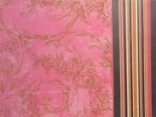 """12""""X12"""" Scrapbook Paper Double Sided Pink Flocked & Brown Pink Green Stripe"""