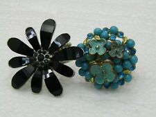 Vintage Two Floral Stretch Rings, Enameled Forget-Me-Not, Black Blossom, Sz. 6.5