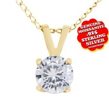 1.05 Ct White Genuine Moissanite Solitaire Pendant Necklace In Sterling Silver