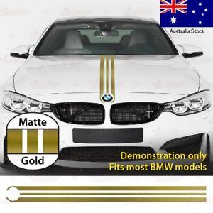 For BMW Engine HOOD BONNET Racing Triple Stripe Decal Vinyl Sticker MATTE GOLD