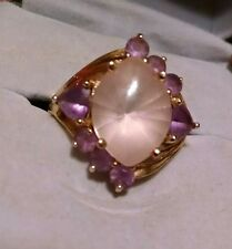 Beautiful and Unique 10K Solid Yellow Gold Amethyst Rose Quartz Ring, Bent Band
