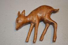Herb Burgess Signed Fawn Deer Wood Carved Primitive Folk Art Brooch Pin VTG 70s