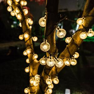 20/50LED Solar Lichterkette Kugel Garten Außen Party Beleuchtung Lampe Deko IP65