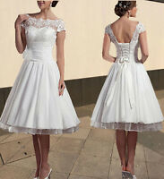 New Knee Length Short White/Ivory Lace Wedding Dresses Bridal Gowns Size 6-18++