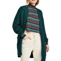 Free People fuzzy boucle green wool once upon a time sweater cardigan XS winter