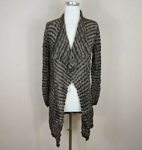 Kuna Baby Alpaca Draped Cardigan Open Front Brown Black Stripe Knit S Small