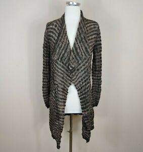 Kuna Baby Alpaca Draped Cardigan Open Front Brown Black Stripe Knit S Small