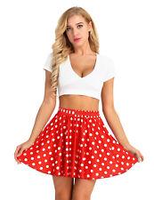 Women's Mid Waisted Polka Dot Skirt Skater Flare Pleated Short Mini Short Skirts