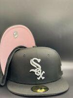 Chicago White Sox MLB New Era Black / White 59Fifty Fitted Hat Pink Under Visor
