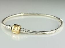 Genuine PANDORA Sterling Silver & 14K Gold Clasp Charm Bracelet 590702HG-19
