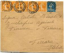 "FRANCE, ANNULS NICE QER DE LA GARE, 1921, STAMPS ""SOWER"" 5 X 5C + C25          m"