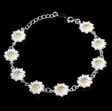 925 Sterling Silver Plated Daisy Flower Chain Bracelet