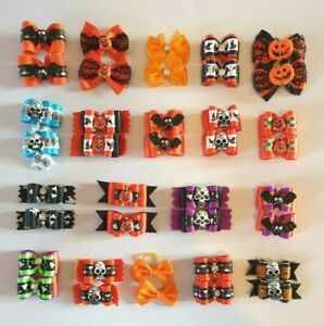 Halloween Dog & Puppy Pair of Grooming Bows Hair Bands Top Knot Pet Fancy Dress