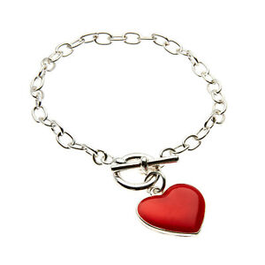 Womens Silver Plated Big Heart Charm Toggle Clasp Bracelet.19cm